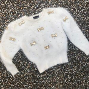 Vintage furry fuzzy angora gold sequin sweater M